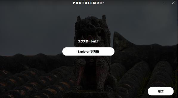 Photolemur完了画面